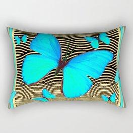 Blue Butterflies On black-yellow Grey Patterns Rectangular Pillow