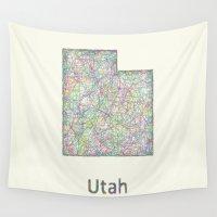 utah Wall Tapestries featuring Utah map by David Zydd