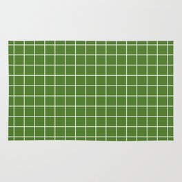 Sap green - green color - White Lines Grid Pattern Rug