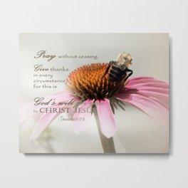 Bee on Cone - Bible Verse Metal Print