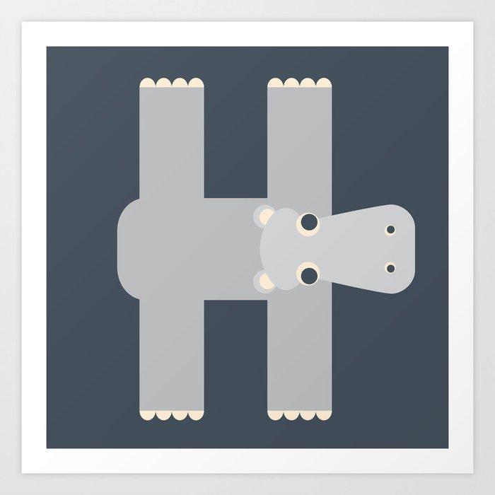 Letter H // Animal Alphabet // Hippo Monogram Art Print