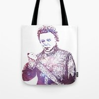 michael myers Tote Bags featuring Galaxy Tony Moran Michael Myers by Cookie Cutter Cat Lady