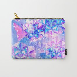 Flower-of-Life Paint Pattern Blue Carry-All Pouch