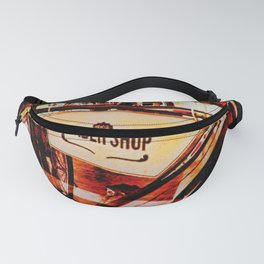 Barber shop vintage photograph of an antique bicycle Fanny Pack
