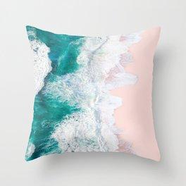 Pink Sand Beach Throw Pillow