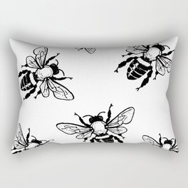 Bees Black Pattern Honeybees Insect Bugs Rectangular Pillow