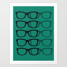 Glasses Green-Blue Art Print
