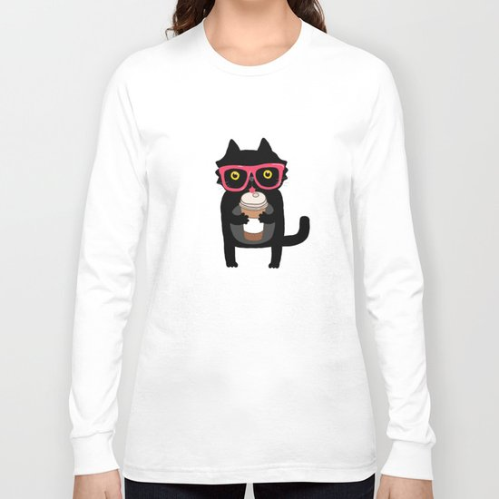 Black cat + coffee Long Sleeve T-shirt
