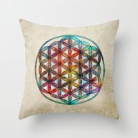 flower of life Throw Pillows featuring Flower of Life by Klara Acel