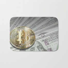 Bitcoin with dollar bills, cryptocurrency concept Bath Mat