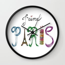 J'aime Paris - Eiffel Tower and Macaron Photograph and Illustration Wall Clock