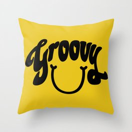 Groovy Smile // Black Smiley Face Fun Retro 70s Hippie Vibes Mustard Yellow Lettering Typography Art Throw Pillow