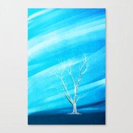 Big white leafless tree blue background Canvas Print