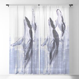Humpback whales mom and baby sumie ink painting Sheer Curtain