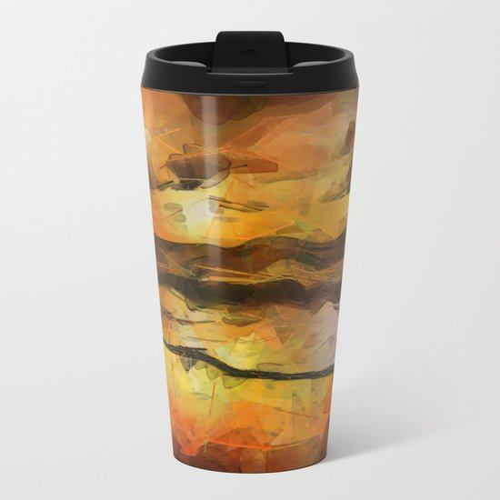 Abstract Geometric Sunset Metal Travel Mug