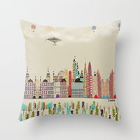 england Throw Pillows featuring visit london england by bri.buckley