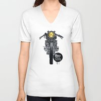 cafe racer V-neck T-shirts featuring Moto - cafe racer by dareba