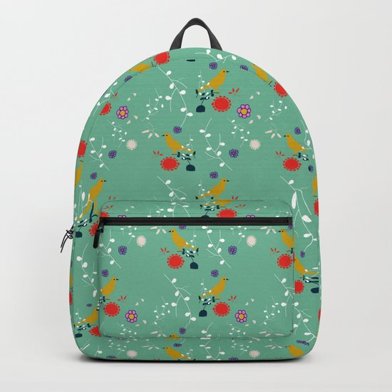 Bird and blossom green Backpack
