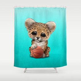 Leopard Cub Playing With Basketball Shower Curtain