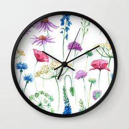 Watercolor wildflowers pattern. Wall Clock