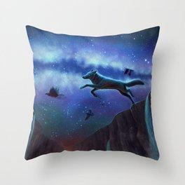 Flies With Ravens Throw Pillow
