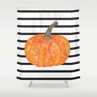 pumpkin Shower Curtains featuring pumpkin by AleDan