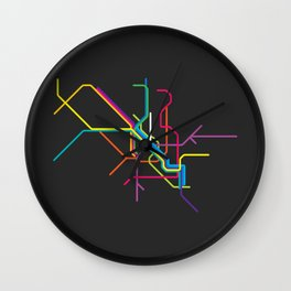 milan metro map Wall Clock