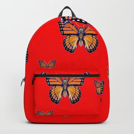 RED ART MONARCH BUTTERFLIES Backpack