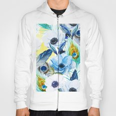 Watercolor Peacock Feather Pattern Hoody