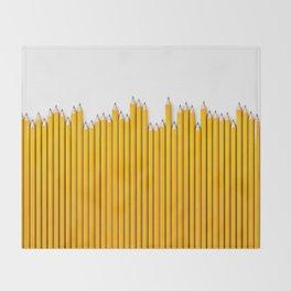 Pencil row / 3D render of very long pencils Throw Blanket