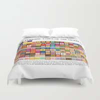 periodic table Duvet Covers featuring The Periodic Table of the Muppets by Mike Boon
