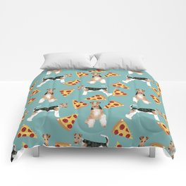 Wire Fox Terrier dog pattern pizza dog lover gifts for dog person dog breeds pet friendly Comforters