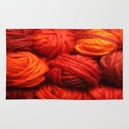 Many Balls of Wool in Shades of Red #society6 #decor #buyart Rug
