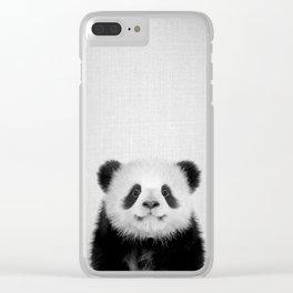 Panda Bear - Black & White Clear iPhone Case