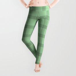 Black Grid on Pale Green Leggings