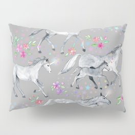 Unicorns and Stars on Soft Grey Pillow Sham