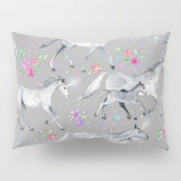 Unicorns and Stars on Soft Grey Pillow Sham