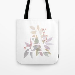 Fall Floral Monogram A - Rustic Alphabet Typography Tote Bag