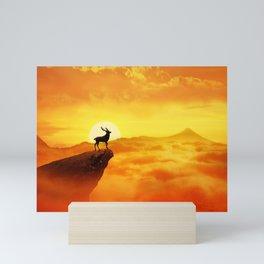 lonely sunset deer Mini Art Print