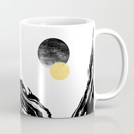 Eugenia - abstract mixed media black white gold foil sunrise sunset painting earth galaxy space sea Coffee Mug