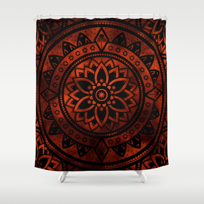 Burnt Orange Black Patterned Flower Mandala Shower Curtain