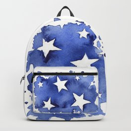 Stars Abstract Blue Watercolor Geometric Painting Backpack