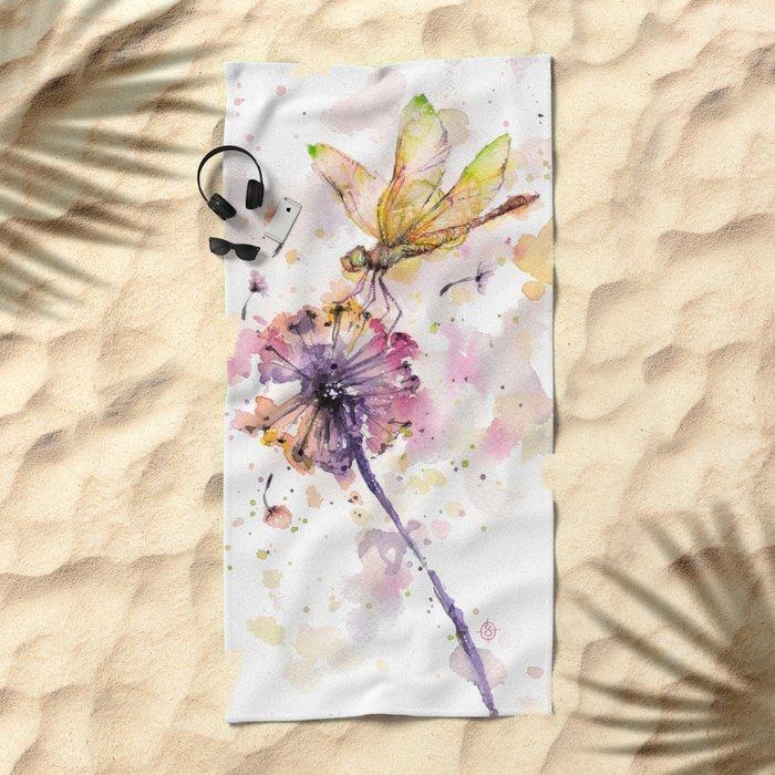 Dragonfly & Dandelion Dance Beach Towel