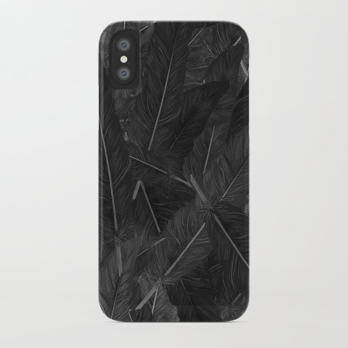 Feathered (Black). iPhone Case