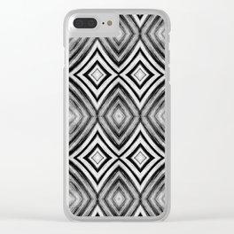 Black White Diamond Pattern Clear iPhone Case