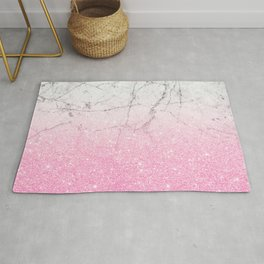 Pink Gold Glitter and Grey Marble Rug