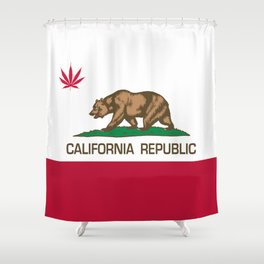 California Republic state flag with red Cannabis leaf Shower Curtain