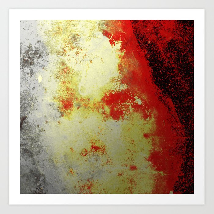 Into The Heat - Black, red, yellow and silver abstract painting Art Print