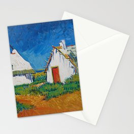 Three White Cottages In Saintes Maries By Vincent van Gogh Stationery Cards