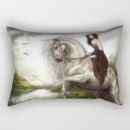 Morning welcome - Royal redead girl riding a white horse Rectangular Pillow